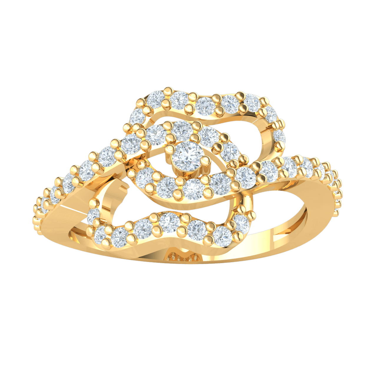 0.42 Ct IJ SI2 Glamerous Real Ring With A Magnificent Arrangement Of Swirls Covered In White Diamonds in 14 kt Gold