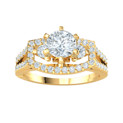 Absolutely Stunning White Diamond Soliatare Ring Surrounded By A Rectangle Of Diamonds And Diamond Encrusted Band 1.01 Ct GH SI2 and 14 kt Gold
