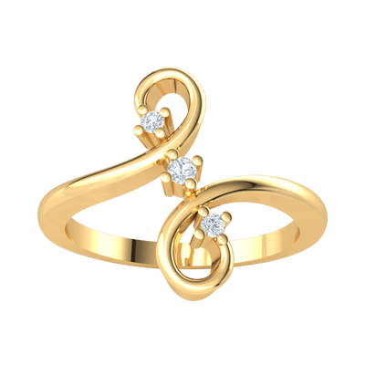 0.05 Ctw Lovely Real Split Band Is Connected By 3 Stunning White Diamond Solitares in GH I1 14 kt Gold