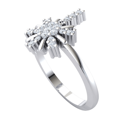 This Enchanting Real Ring Has A Beautiful 7 Stone White Diamond Centerpiece With A Gorgeous Arrangement Of Diamonds 0.28 Ct GH I1-I2 and 10 kt Gold