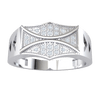 0.13 Ct IJ SI2 Artistically Crafted Real Wide Band Ring With Beautiful Centerpiece Of White Diamond Arrangement in 14 kt Gold