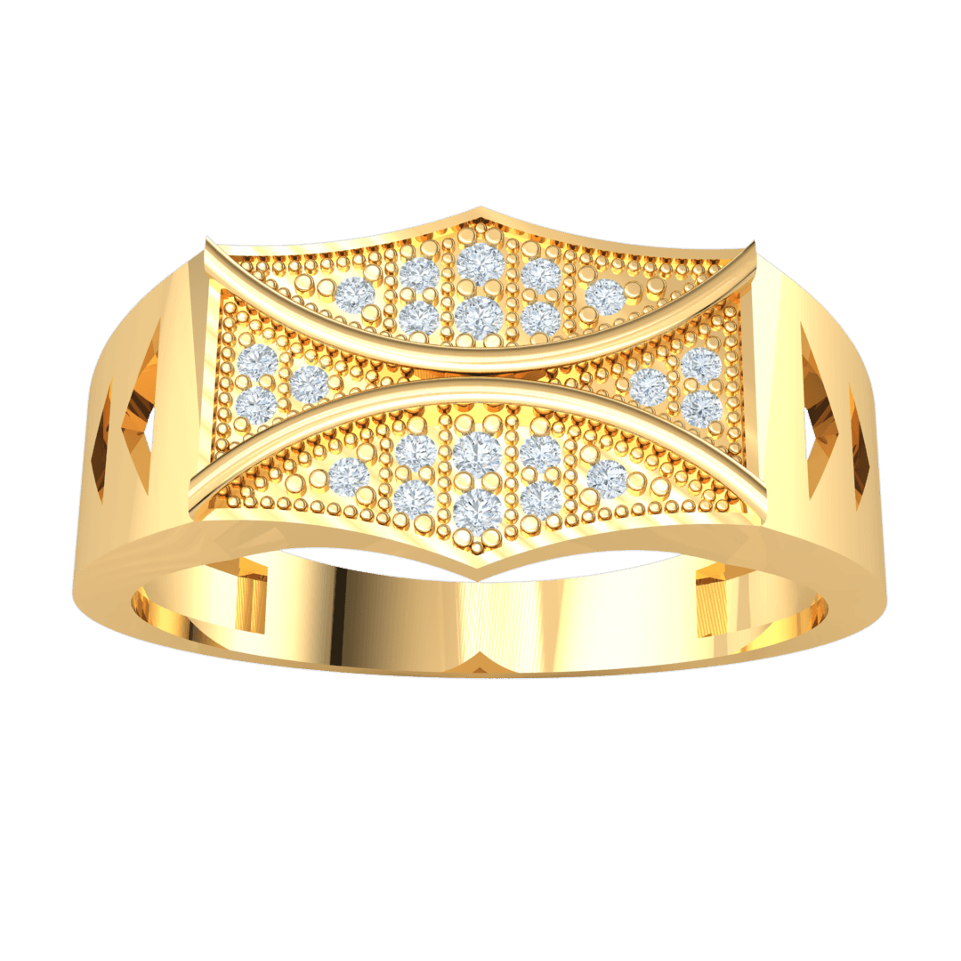 0.13 Ctw Artistically Crafted Real Wide Band Ring With Beautiful Centerpiece Of White Diamond Arrangement in GH I1-I2 10 kt Gold