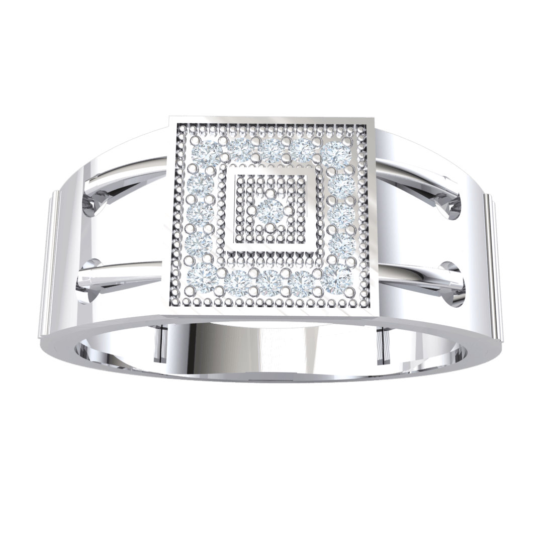 0.17 Ct IJ SI2 Classic Real Wide Band Ring With Square Centerpiece Infused With Beautiful White Diamonds in 14 kt Gold