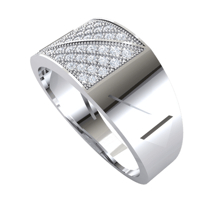 0.33 Ct GH I1-I2 Exquisite Real Wide Band Ring With Stunning White Diamond Centerpiece in 10 kt Gold