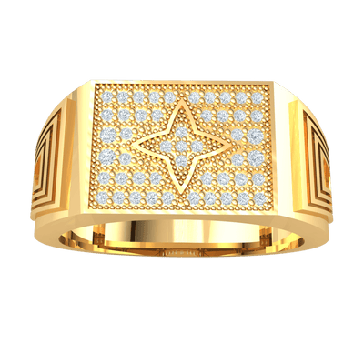 0.24 Ctw Stunningly Crafted Real Ring Emblazzend With White Diamonds And Spectacular Centerpiece in GH I1 14 kt Gold