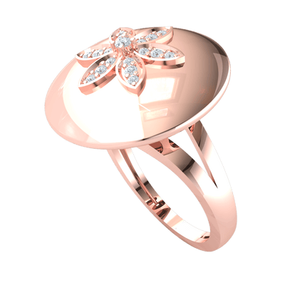 0.14 Ctw Beautiful White Diamonds Create A Sparkling Flower Set Over Circular Real in GH I1-I2 10 kt Gold
