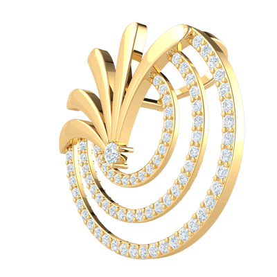 0.63 Ct GH I1-I2 Truely Magnificent Brooch Made Of Real Spray Above 3 Beautiful Rows Of White Diamonds in 10 kt Gold