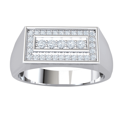 0.30 Ct IJ SI2 Magnificently Crafted Real Ring With Beautiful White Diamond Rectangle Display in 14 kt Gold