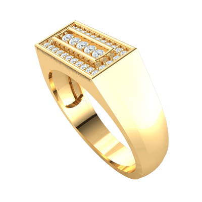 0.30 Ctw Magnificently Crafted Real Ring With Beautiful White Diamond Rectangle Display in J SI2 10 kt Gold