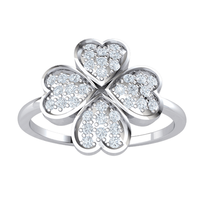 Charming 4 Real Hearts Come Together To Form A Beautiful Display Of White Diamonds 0.25 Ct JK I1 and 10 kt Gold