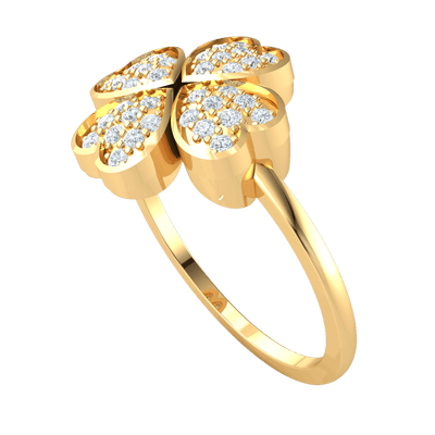 0.25 Ctw Charming 4 Real Hearts Come Together To Form A Beautiful Display Of White Diamonds in GH I1 14 kt Gold