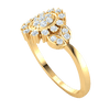 0.32 Ct GH I1 Beautifully Unique Real Ring With Artistic Oval Arrangement Of White Diamonds in 14 kt Gold