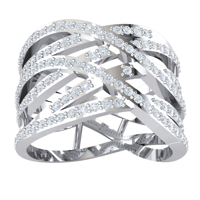 0.63 Ct IJ SI2 Absolutley Stunning Real Criss Cross Ring With An Array Of Beautiful White Diamonds in 14 kt Gold