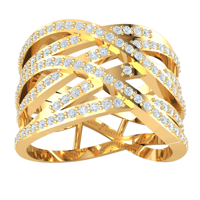 0.63 Ctw Absolutley Stunning Real Criss Cross Ring With An Array Of Beautiful White Diamonds in GH I1-I2 10 kt Gold