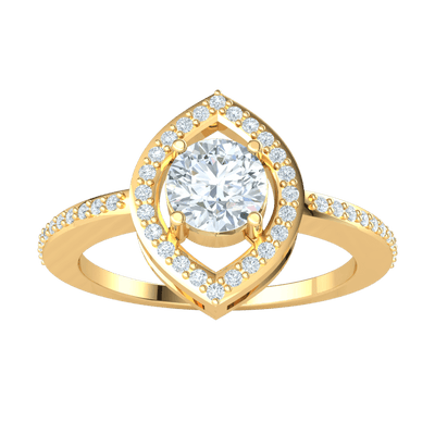 Gorgeous White Diamond Solitare Ring Set In Real With Beautiful Diamond Encrusted Band 0.70 Ct IJ SI2 and 14 kt Gold