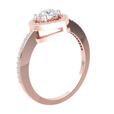 0.70 Ct GH I1-I2 Gorgeous White Diamond Solitare Ring Set In Real With Beautiful Diamond Encrusted Band in 10 kt Gold