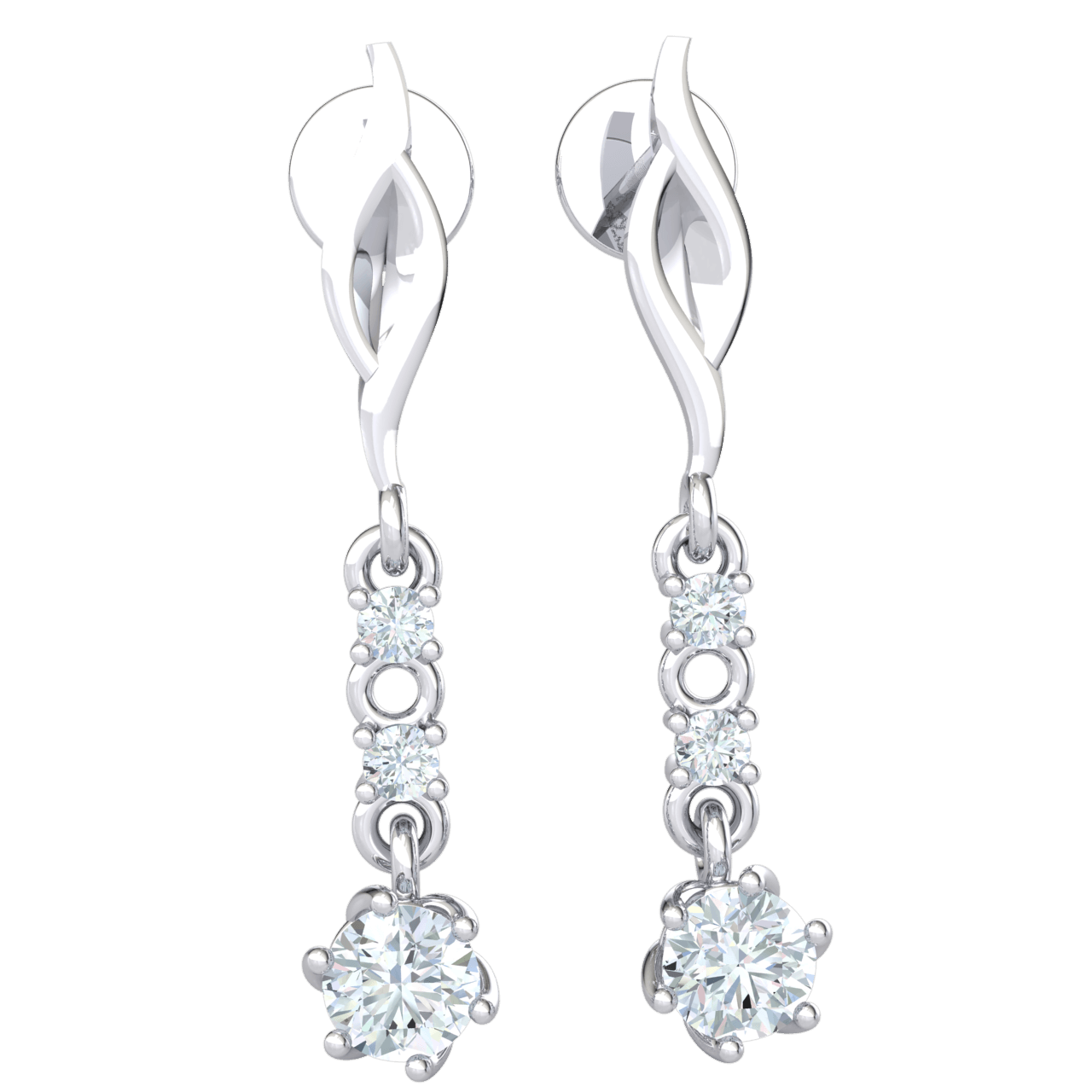 0.51 Ctw Extremely Elegant Real Earrings With 3 White Diamond Solitares In Beautiful Alignment in IJ SI2 14 kt Gold