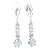 0.51 Ct JK I1 Extremely Elegant Real Earrings With 3 White Diamond Solitares In Beautiful Alignment in 10 kt Gold