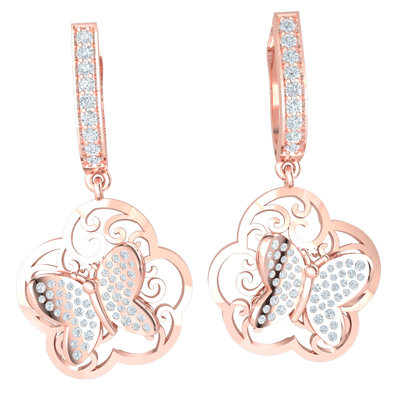 0.70 Ctw Exquisite Earrings! Real Butterfly Covered In White Diamonds Hanging From A Stunning Row Of White Diamonds in GH I1 14 kt Gold