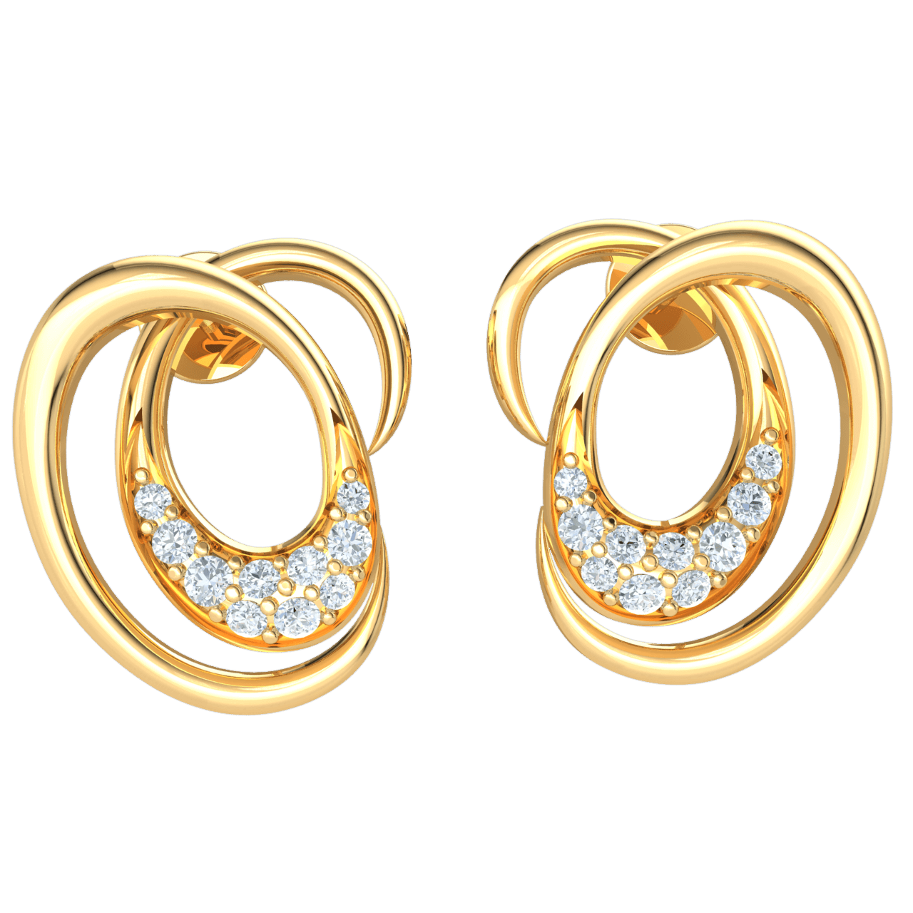 0.12 Ct GH I1-I2 Graceful Swirling Real Earrrings With Several Stunning White Diamonds in 10 kt Gold