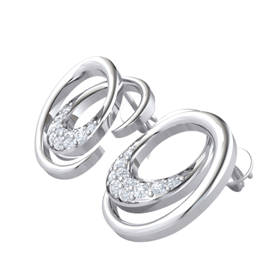 0.12 Ct IJ SI2 Graceful Swirling Real Earrrings With Several Stunning White Diamonds in 14 kt Gold