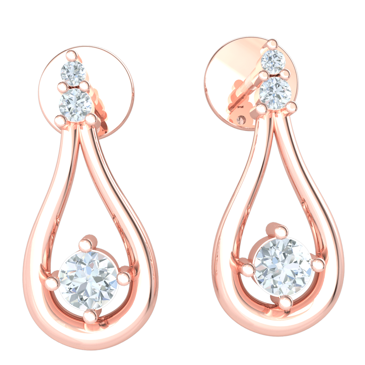 Absolutely Timeles Real Teardrop Earrings With 3 Truely Beautiful White Diamonds 0.15 Ct JK I1 and 10 kt Gold