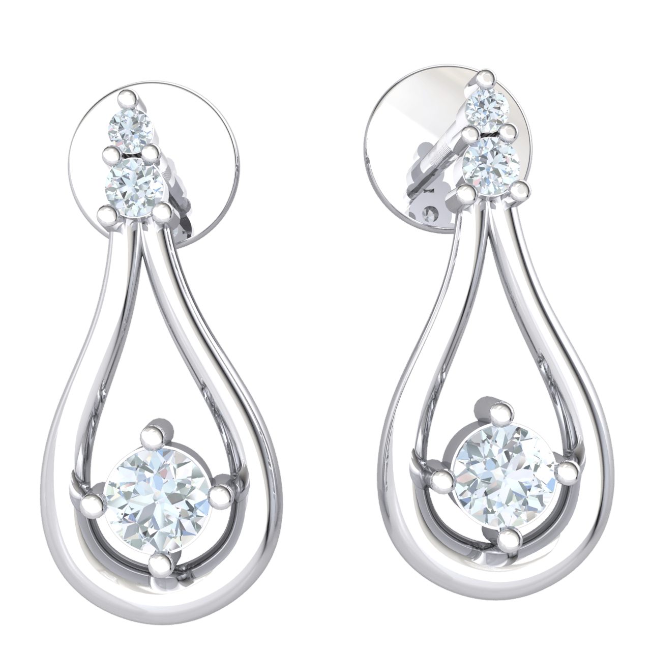 0.15 Ctw Absolutely Timeles Real Teardrop Earrings With 3 Truely Beautiful White Diamonds in GH I1 14 kt Gold
