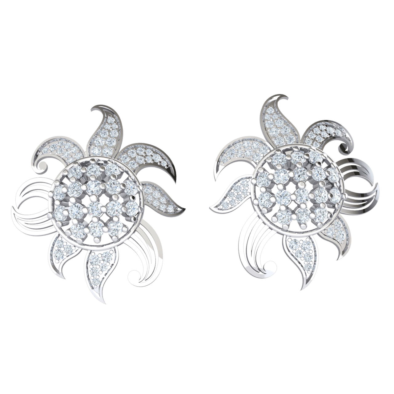 1.71 Ctw Bright As The Sun! Sun Shaped Real Earrings Covered In Brillant White Diamonds in JK I1 10 kt Gold