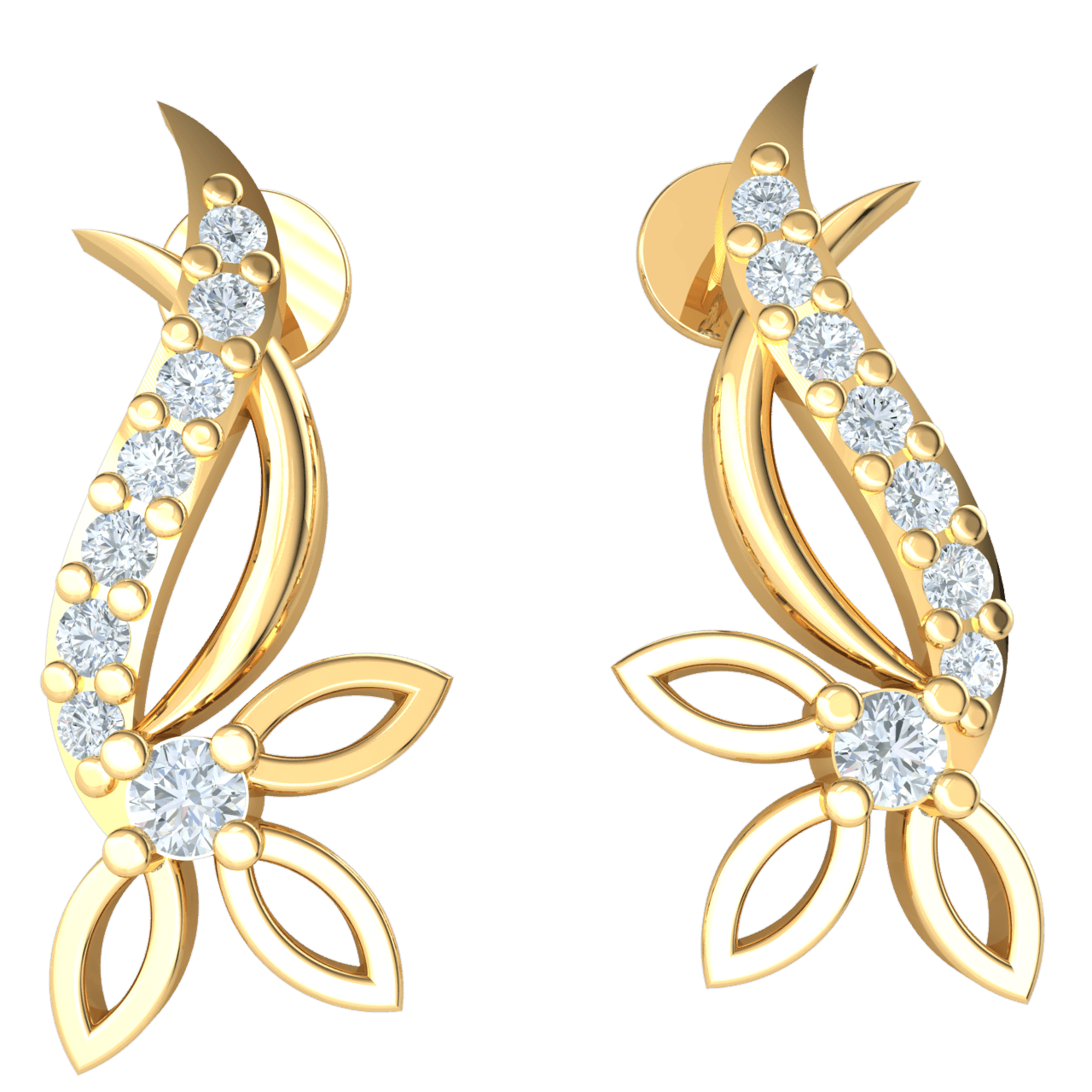 0.13 Ct IJ SI2 Exquisite Real 3 Leaf Swan Neck Earrings Emblazzend With Several Stunning White Diamonds in 14 kt Gold