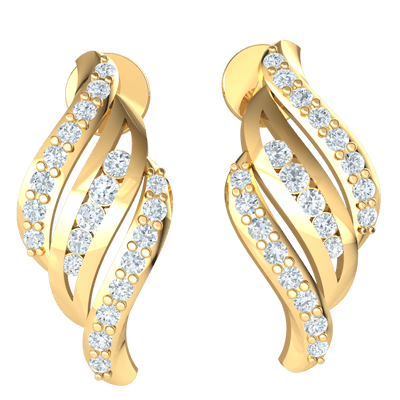 0.30 Ct IJ SI2 Very Elegant 3-Tier Real Earrings Enclosing Beautiful White Diamonds in 14 kt Gold