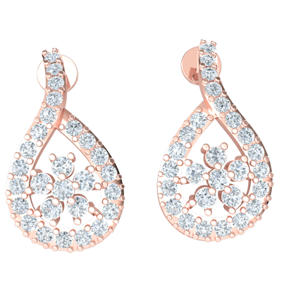 Very Stunning Real Earrings With Several Heart Stopping White Diamonds 0.61 Ct IJ SI2 and 14 kt Gold