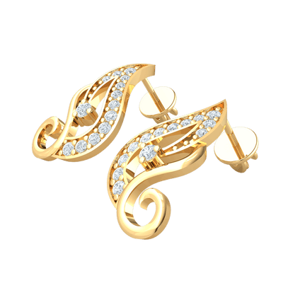 0.22 Ctw One Of A Kind! Artistic Real Earrings Emblazzend With Several Stunning White Diamonds in IJ SI2 14 kt Gold