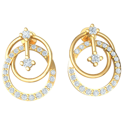Very Unique Double Hoop Earrings Embedded With Several Stunning White Diamonds 0.36 Ct GH I1-I2 and 10 kt Gold