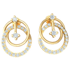 0.36 Ctw Very Unique Double Hoop Earrings Embedded With Several Stunning White Diamonds in IJ SI2 14 kt Gold