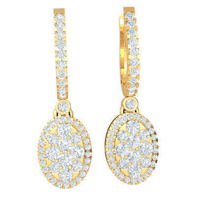 Absolutely Stunning Real Earrings With A Row Of White Diamonds Holding A Beatiful Diamond Covered Oval 1.39 Ct IJ SI2 and 14 kt Gold