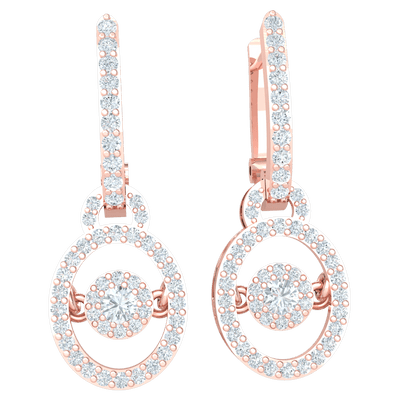 0.81 Ctw These Stunning Real Earrings Are Covered In White Diamonds With Sparkling Diamond Centerpiece in JK I1 10 kt Gold