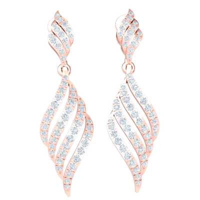 0.79 Ctw Exquisite Real Dangle Earrings Are Enchantingly Covered In White Diamonds in JK I1 10 kt Gold