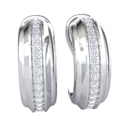 Classic And Timeless Circular Hoop Real Earrings With A Row Of Beautiful White Diamonds 0.35 Ct IJ SI2 and 14 kt Gold