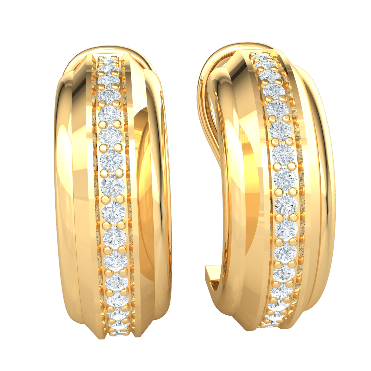 0.35 Ct JK I1 Classic And Timeless Circular Hoop Real Earrings With A Row Of Beautiful White Diamonds in 10 kt Gold