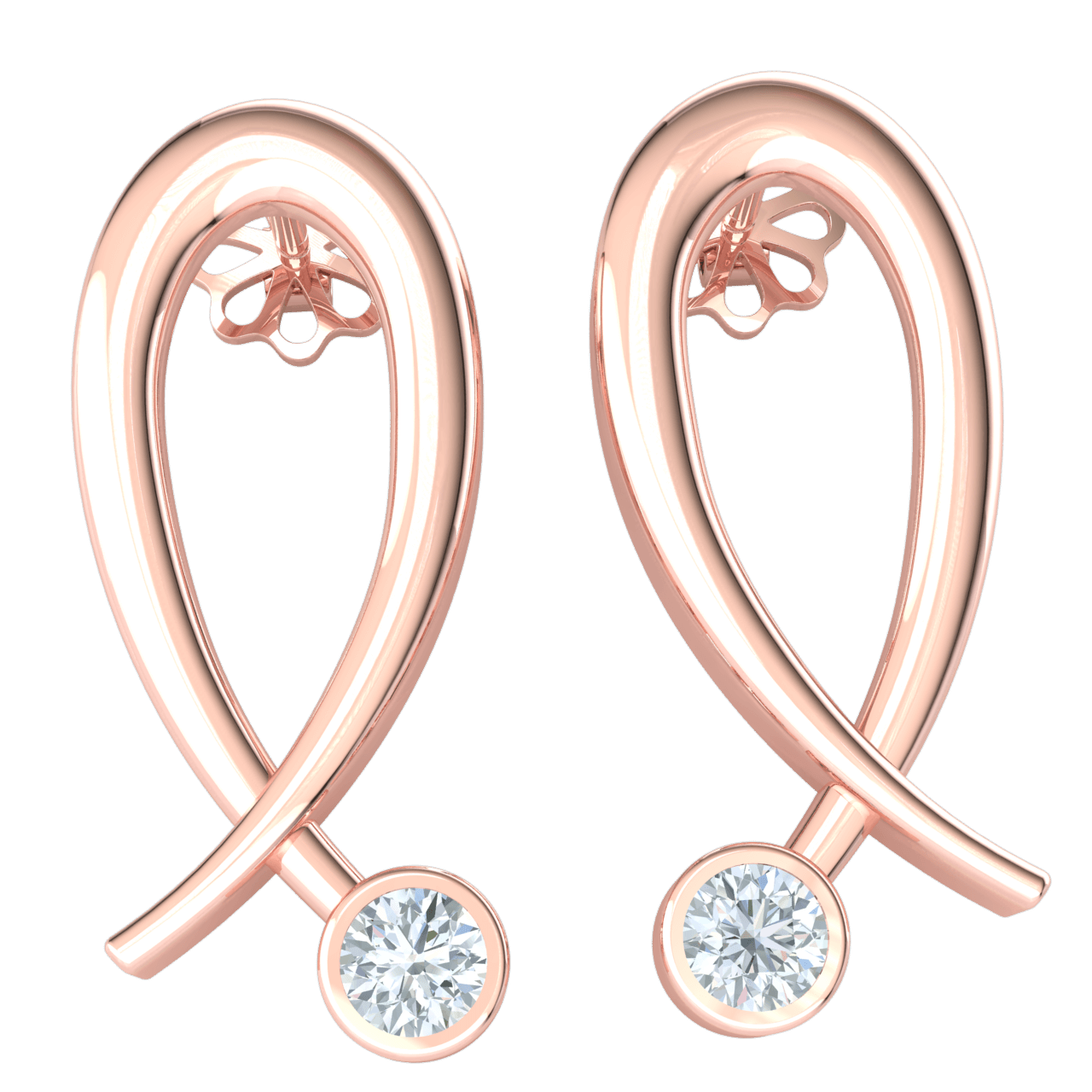 Beautiful Real Breast Cancer Awareness Symbol Earrings With Sparkling White Diamond 0.13 Ct GH I1-I2 and 10 kt Gold