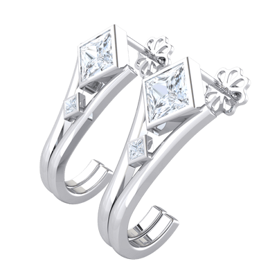 0.50 Ct IJ SI2 Absolutely Stunning Square Shaped White Diamond Earrings With Wrap Around Real in 14 kt Gold