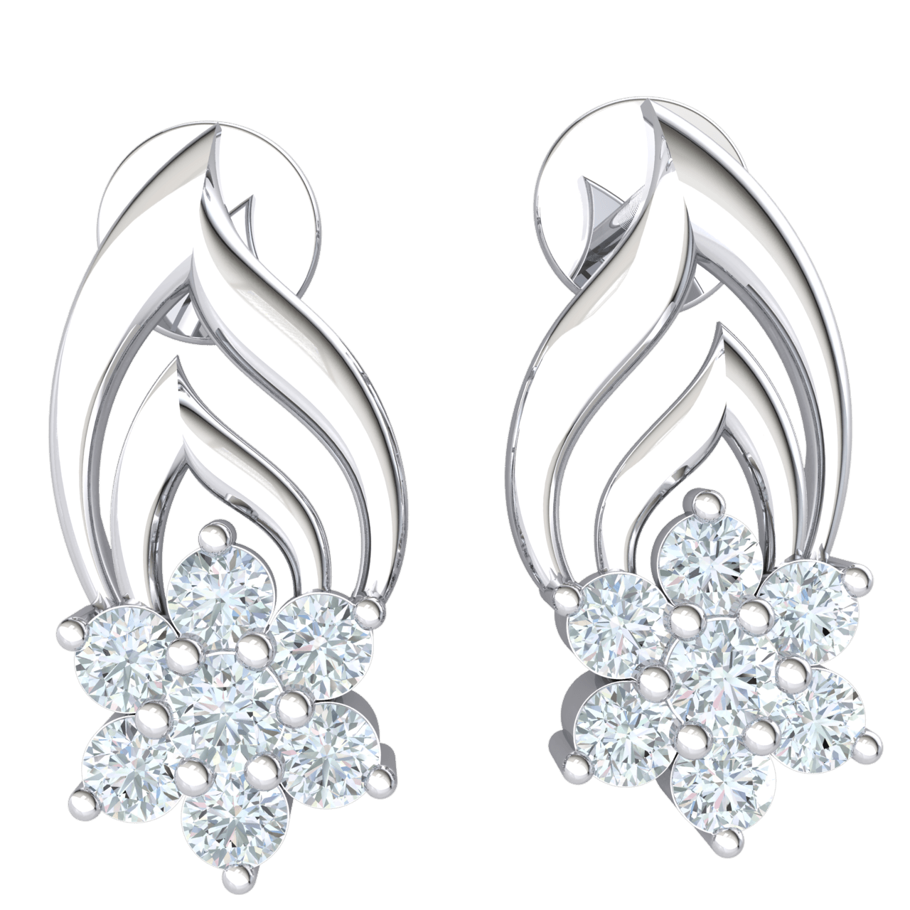 Absolutely Stunning Real Double Tear Drop Earrings With A Dazzeling 7 Stone Setting 0.37 Ct IJ SI2 and 14 kt Gold
