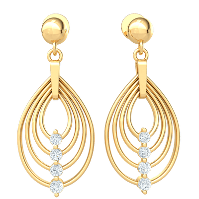 0.40 Ct GH I1-I2 Charming Real 4 Layer Teardrop Earrings With Beautifully Placed White Diamonds in 10 kt Gold