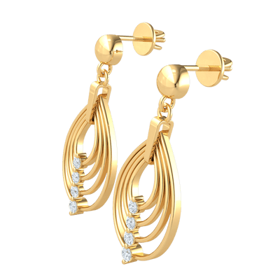 0.40 Ctw Charming Real 4 Layer Teardrop Earrings With Beautifully Placed White Diamonds in IJ SI2 14 kt Gold