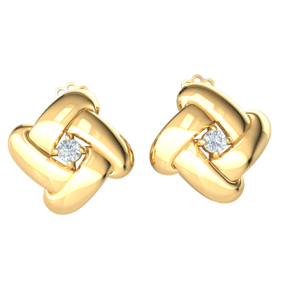 Sparkling White Diamond Solitare Earrings Surrounded By Classically Designed Real 0.17 Ct JK I1 and 10 kt Gold
