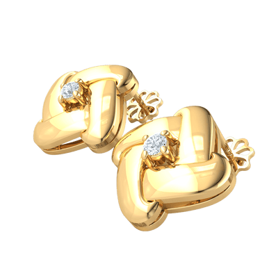 0.17 Ctw Sparkling White Diamond Solitare Earrings Surrounded By Classically Designed Real in IJ SI2 14 kt Gold