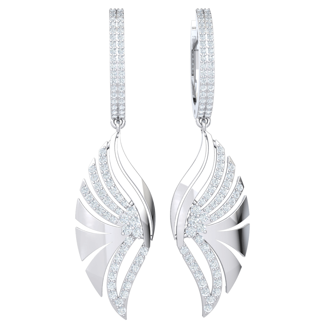 1.15 Ctw Absolutely Exquisite Real Fan Dangle Earrings Covered In Sparkling White Diamonds in GH I1-I2 10 kt Gold