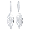 1.15 Ct IJ SI2 Absolutely Exquisite Real Fan Dangle Earrings Covered In Sparkling White Diamonds in 14 kt Gold