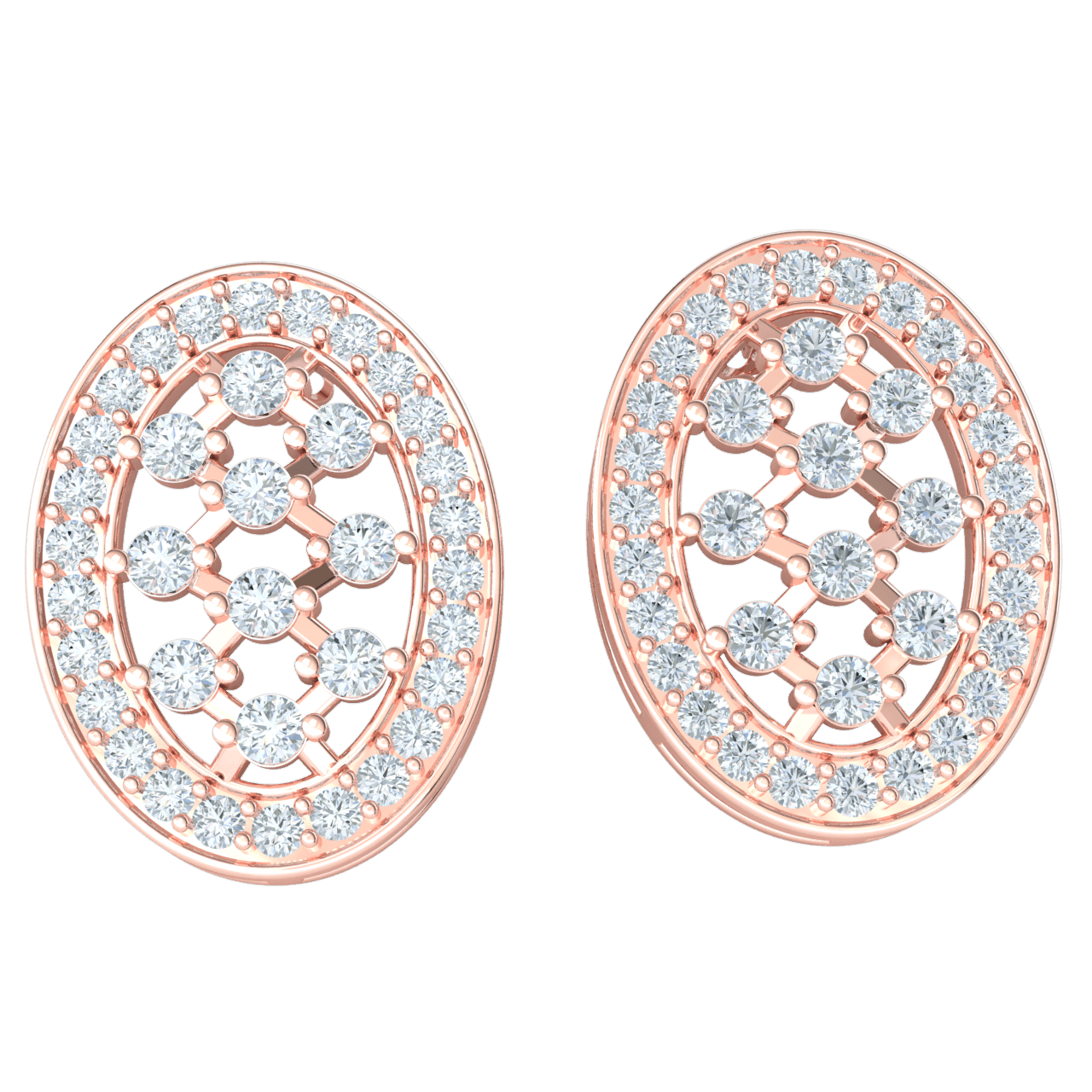 1.18 Ct GH I1 Very Glamorous Oval Shaped Real Earrings Embedded With Stunning White Diamonds in 14 kt Gold