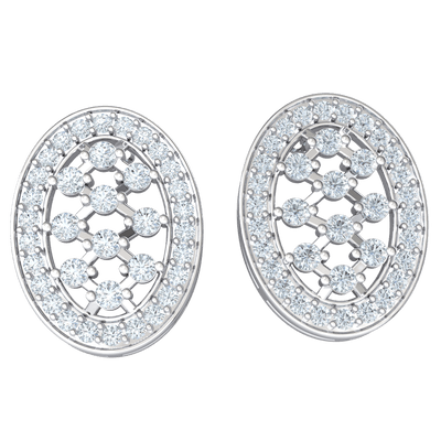 1.18 Ctw Very Glamorous Oval Shaped Real Earrings Embedded With Stunning White Diamonds in JK I1 10 kt Gold